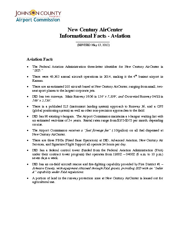 New Century AirCenter Informational Facts - Aviation